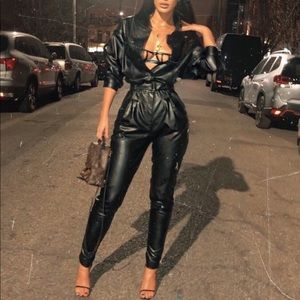 HOUSE OF CB Kylie Jenner Vegan Leather Jumpsuit 🖤